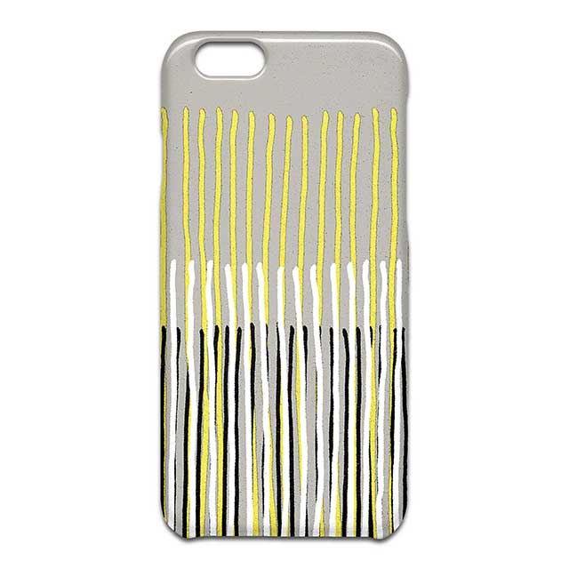 Yellow Rising abstract stripes in yellow grey black white スマホケース1