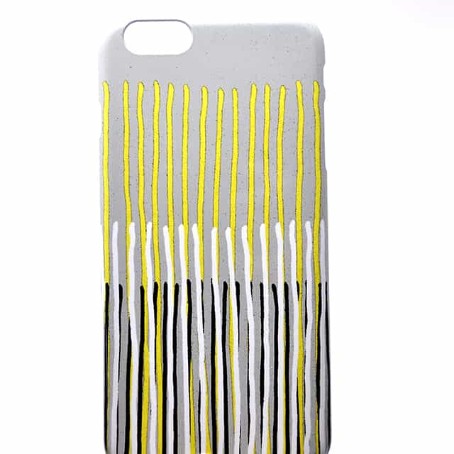 Yellow Rising abstract stripes in yellow grey black white スマホケース2