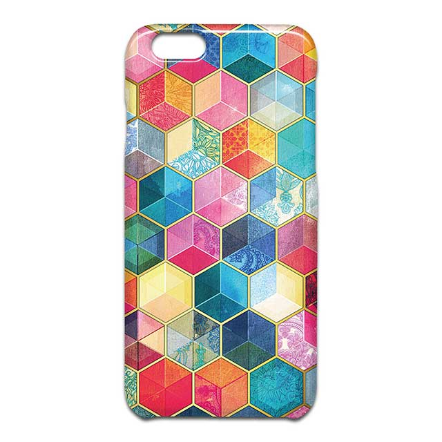 Crystal Bohemian Honeycomb Cubes Colorful スマホケース1