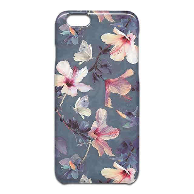 Butterflies and Hibiscus Flowers a painted スマホケース1