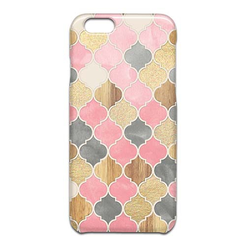 Silver Grey Soft Pink Wood and Gold Moroccan Pattern スマホケース