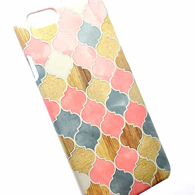 Silver Grey Soft Pink Wood and Gold Moroccan Pattern スマホケース2