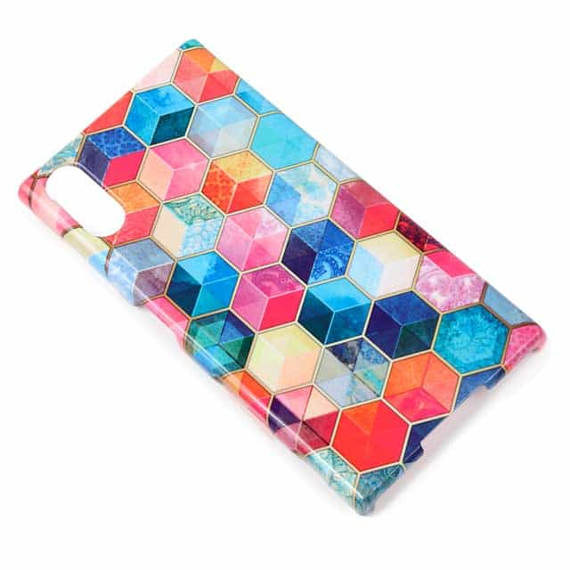 Crystal Bohemian Honeycomb Cubes Colorful Xperia XZsケース